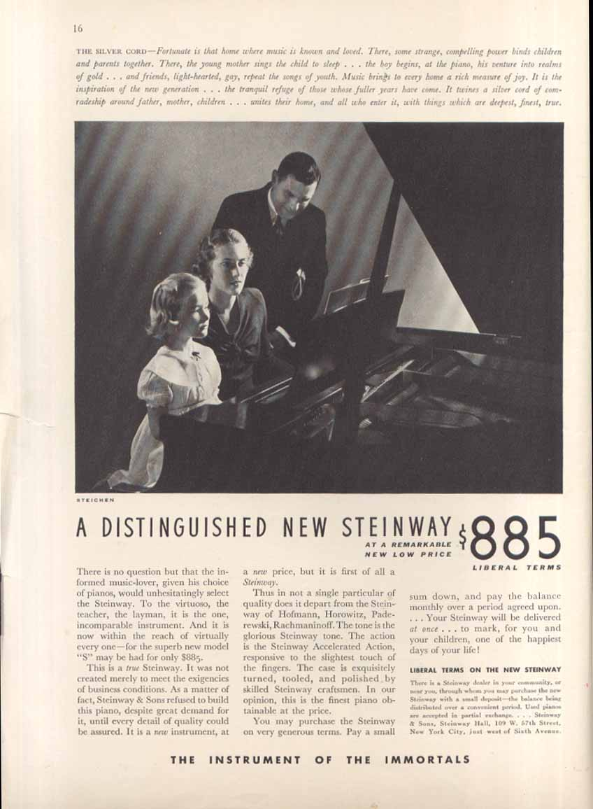 The Silver Chord Steinway Piano ad 1936 Steichen