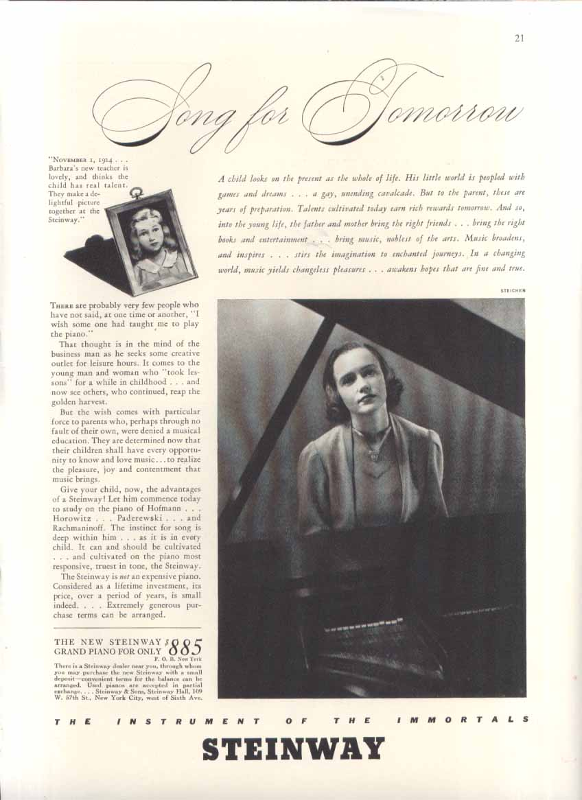 Song for Tomorrow Steinway Piano ad 1937 Steichen