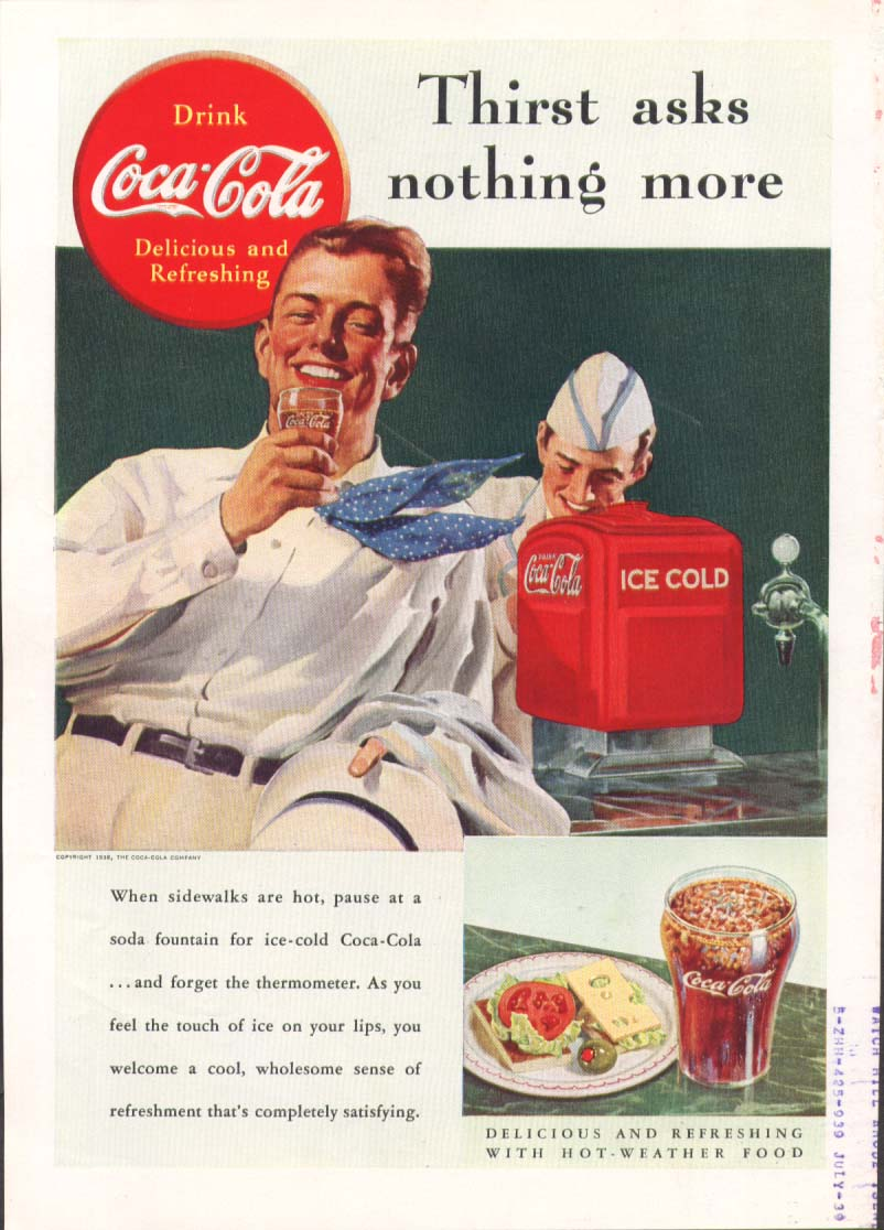Image for Thirst asks nothing more Coca-Cola ad 1938 fountain