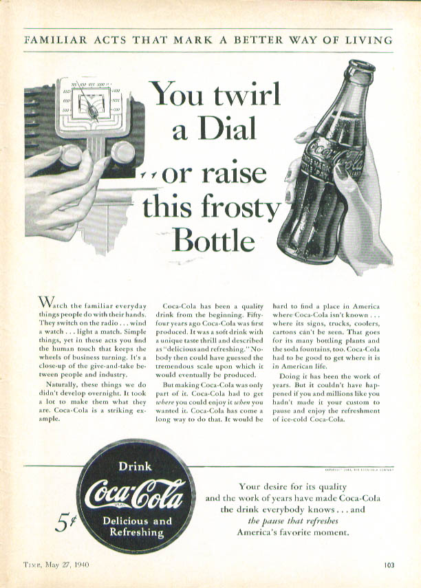 Image for You twirl Dial or raise frosty bottle Coca-Cola ad 1940