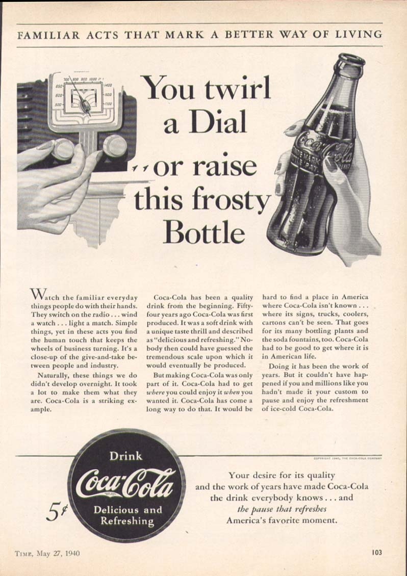 Image for Twirl a dial raise this frosty bottle Coca-Cola ad 1940
