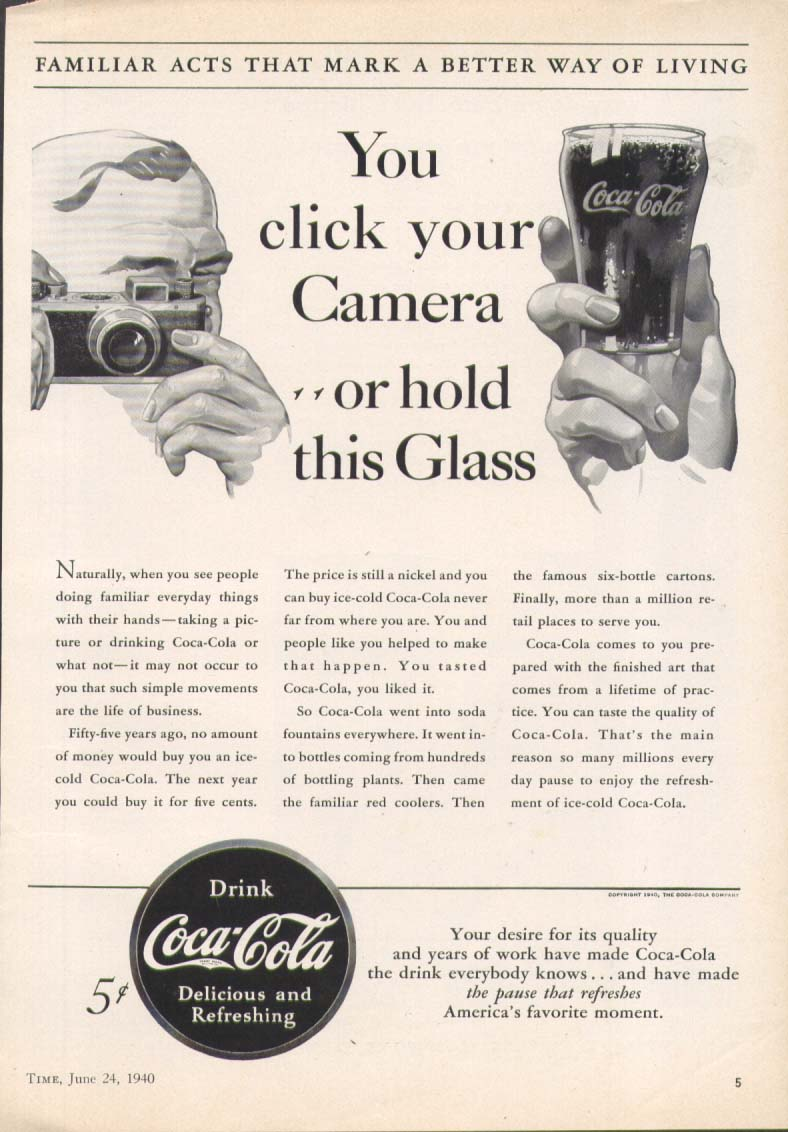 Click your camera hold this glass Coca-Cola ad 1940