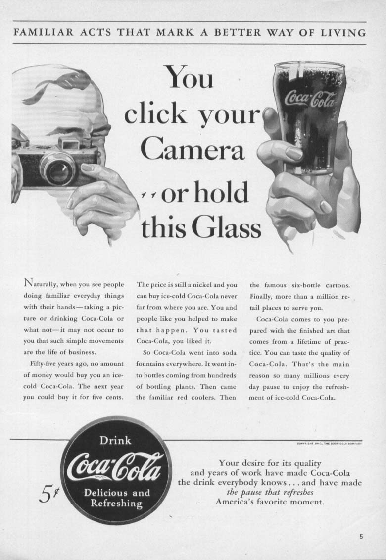 Click Your Camera of Hold Glass Coca-Cola ad 1940 5c