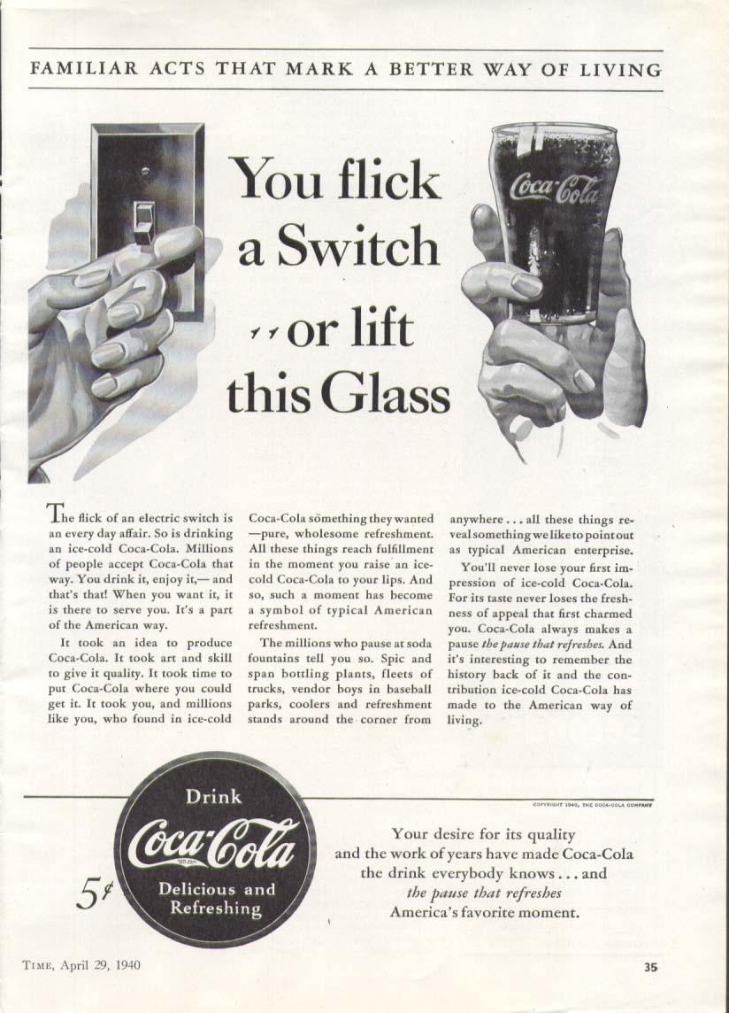 Flick a switch lift that glass Coca-Cola ad 1940