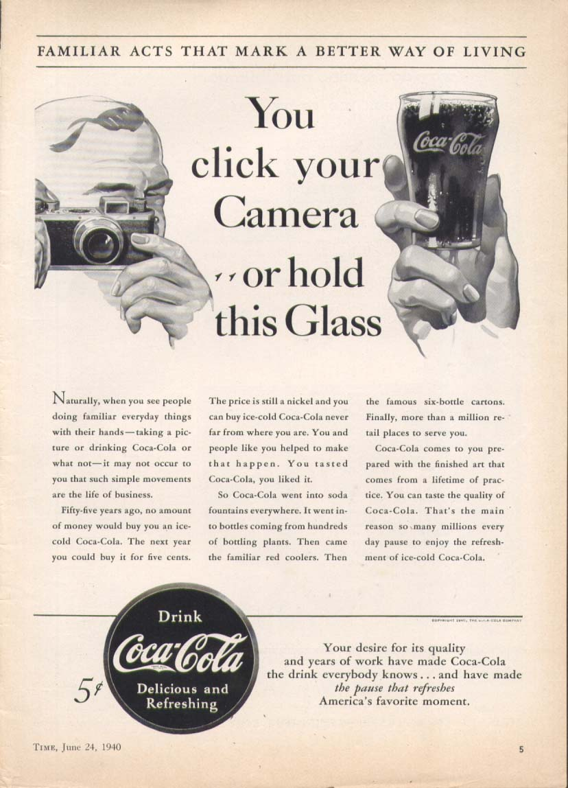 Click your camera hold a Coca-Cola ad 1940