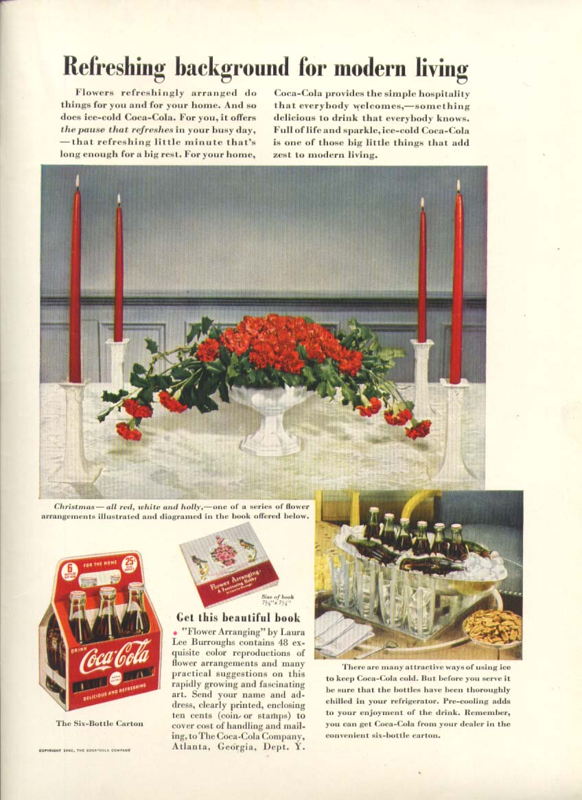 Refreshing background modern living Coca-Cola ad 1940