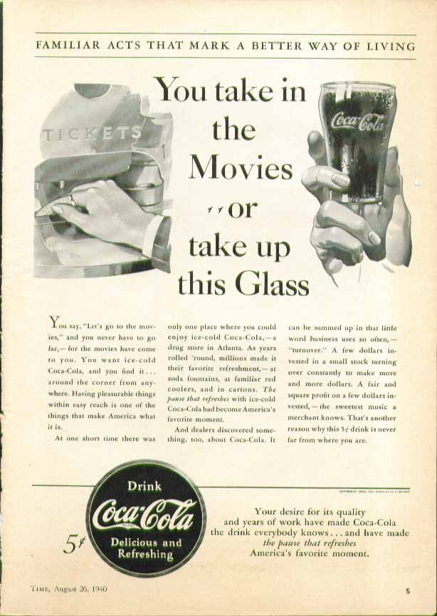 Image for You take in the Movies or take up a this Glass Coca-Cola ad 1940