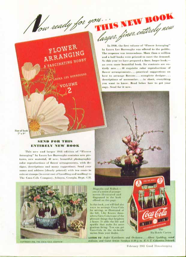 Image for Now ready for you This New Book on flower arranging Coca-Cola ad 1941
