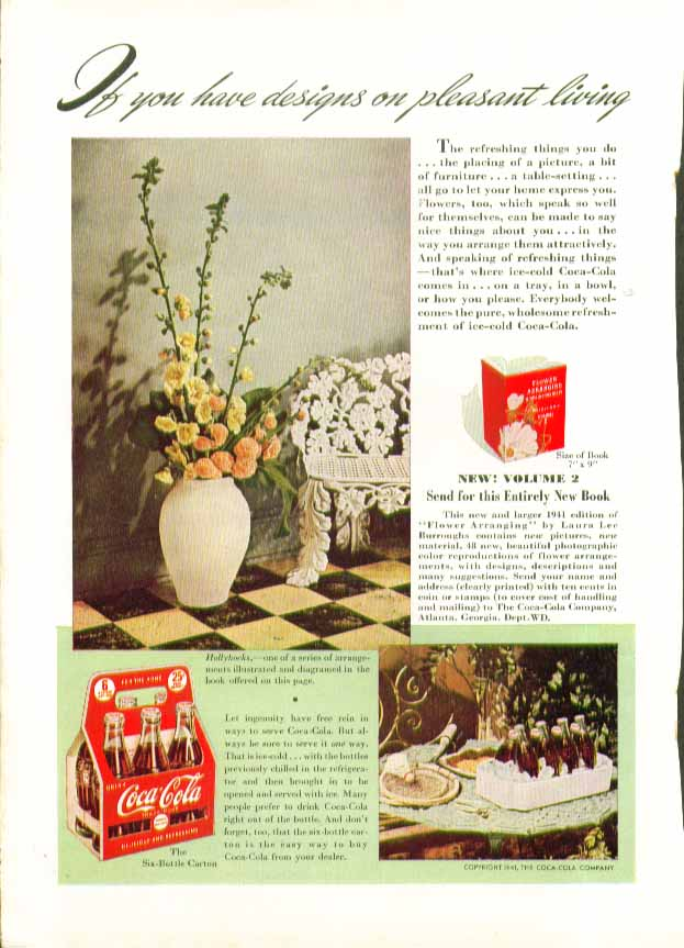 Image for If you have designs on pleasant living Coca-Cola ad 1941 6-bottle carton