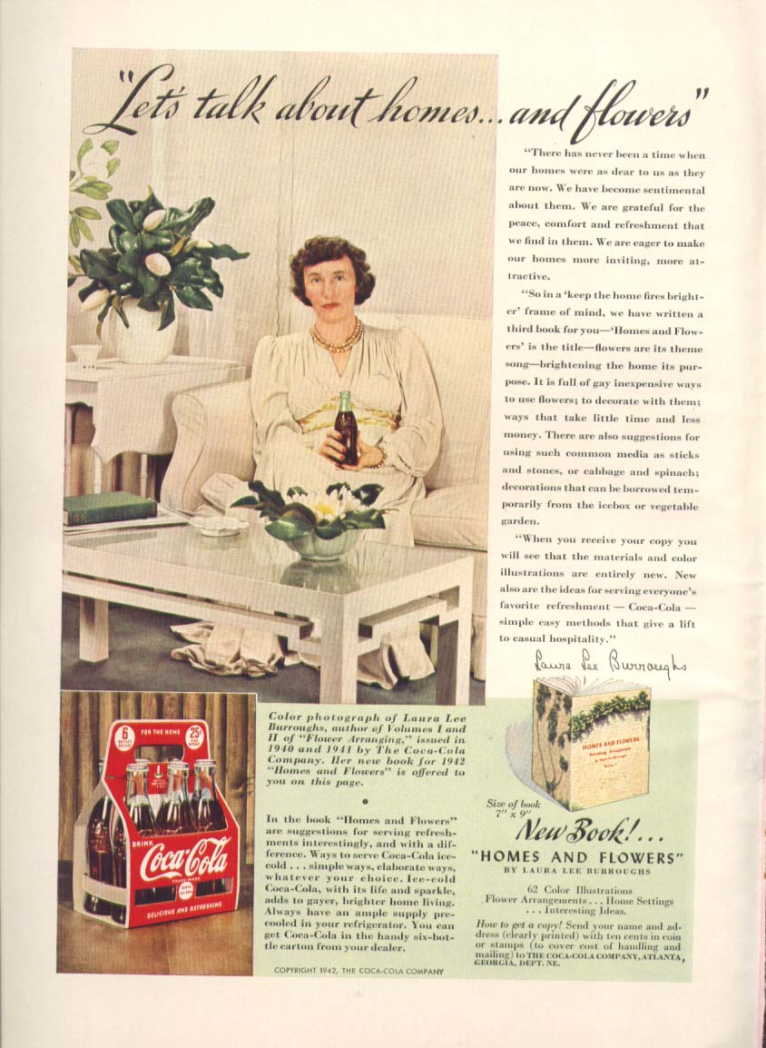 Image for Let's talk about homes & flowers Coca-Cola ad 1942