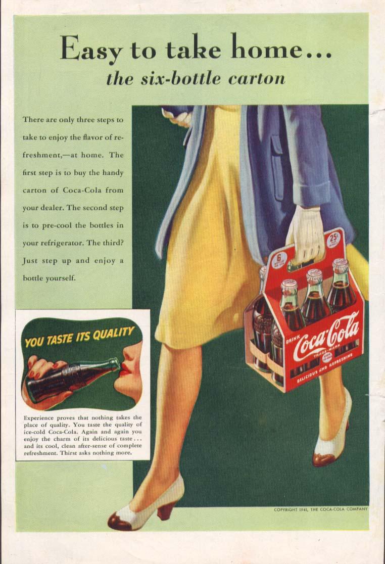 Easy to take home 6-bottle carton Coca-Cola ad 1941