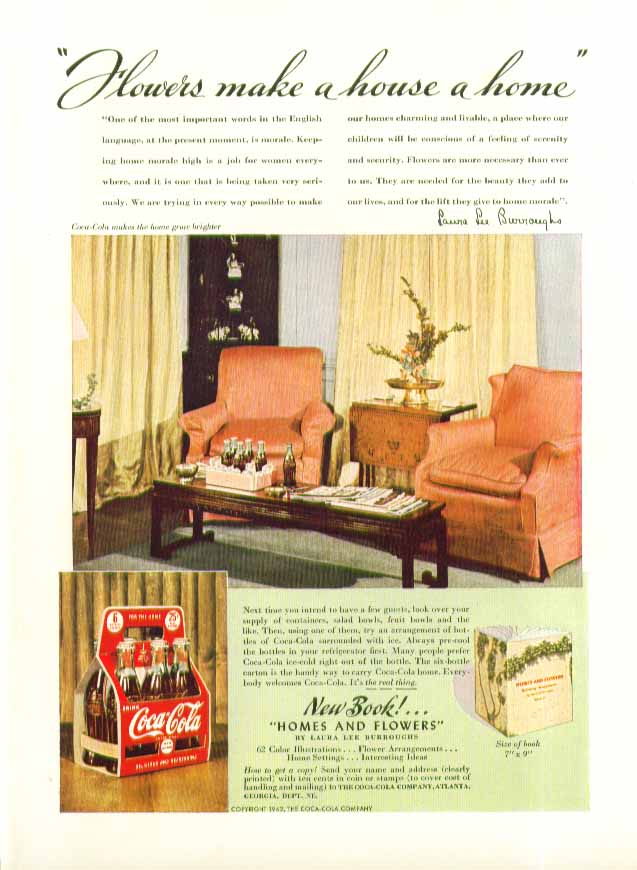 Image for Flowers make a house a home Coca-Cola ad 1942 6-bottle carton