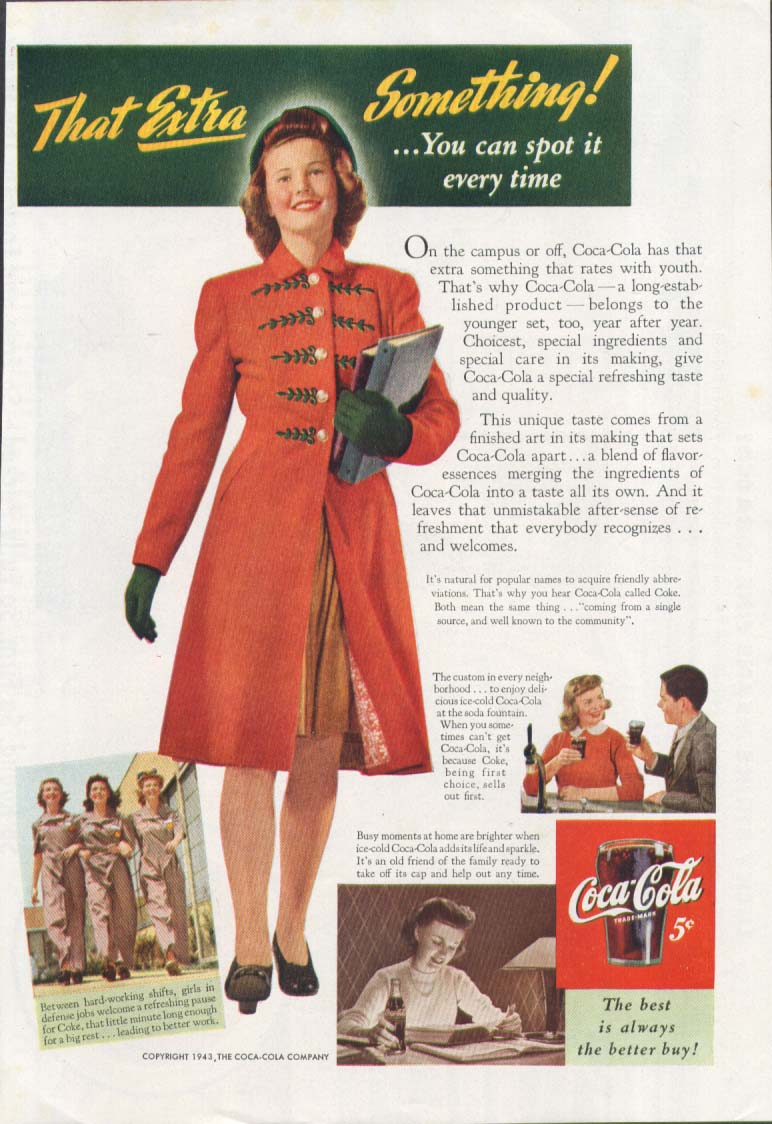 Image for That Extra Something! Campus co-ed Coca-Cola ad 1943