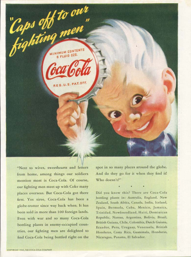 Image for Caps off to our fighting men Coca-Cola ad 1943