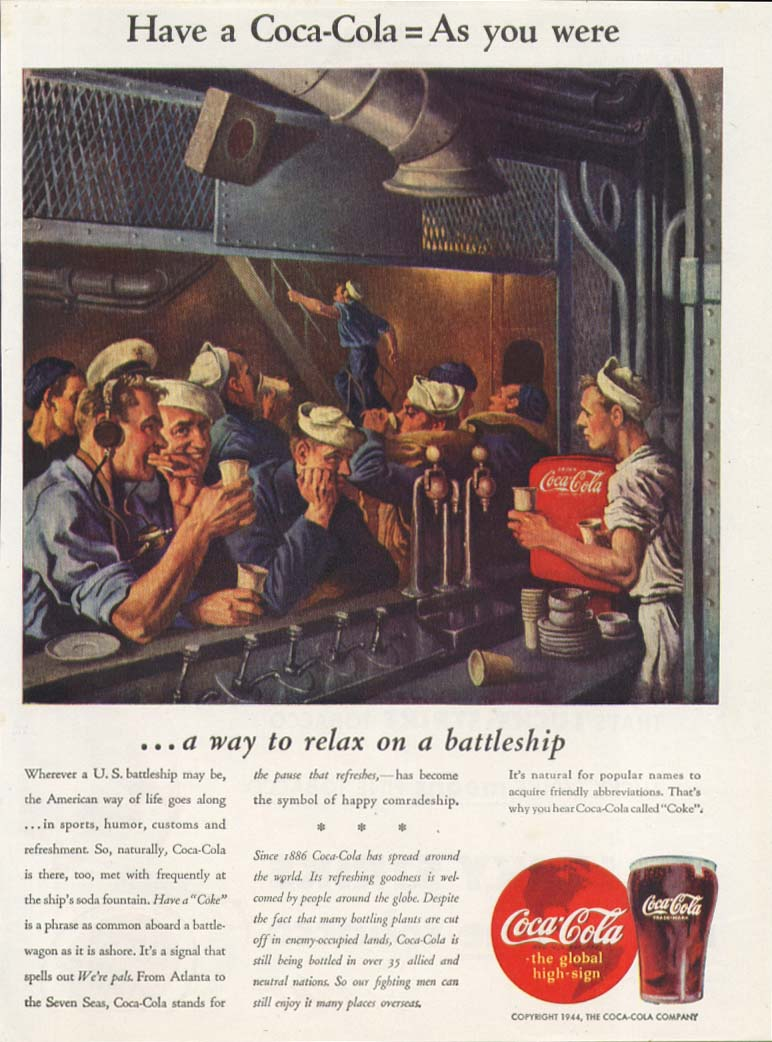 Have a Coca-Cola = As you were ad 1944 battleship