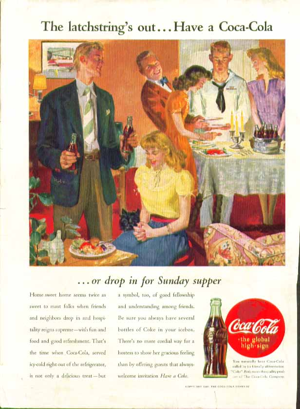 Image for The latchstring's out Have a Coca-Cola or drop in for Sunday supper ad 1945
