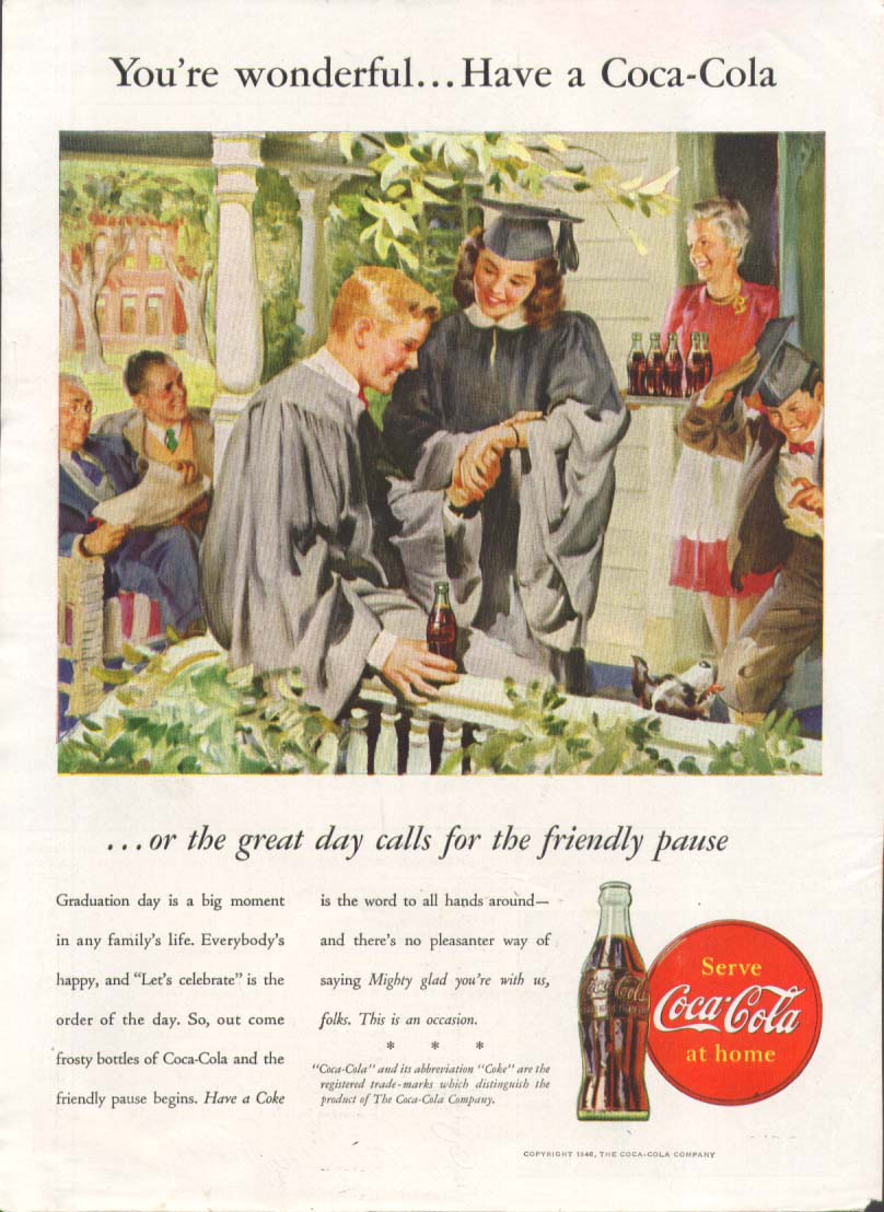 Image for You're wonderful = Have a Coca-Cola ad 1946 graduation
