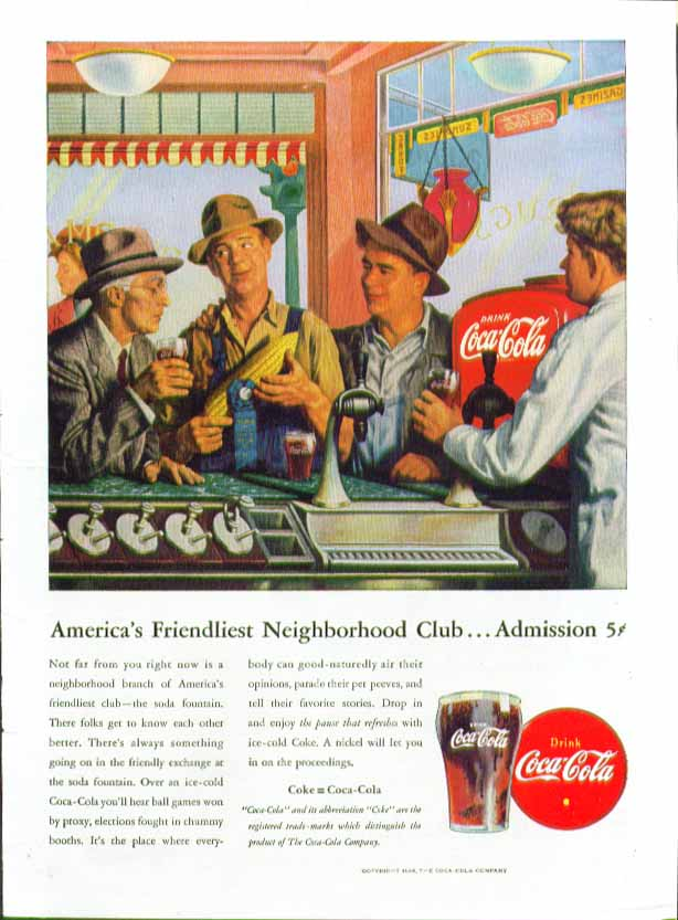 America's Friendliest Neighborhood Club - Admission 5c Coca-Cola ad 1946