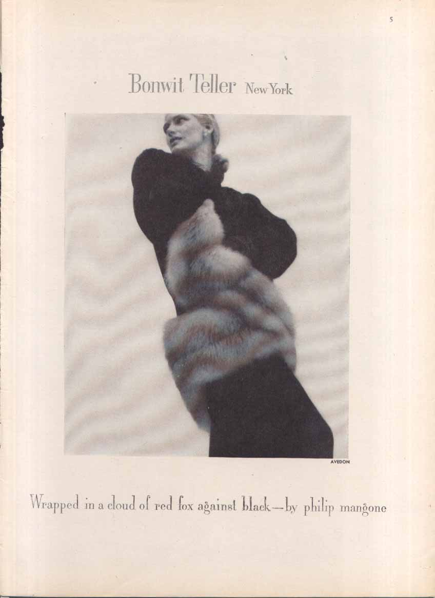Bonwit Teller Red Fox Coat ad 1946 Richard Avedon