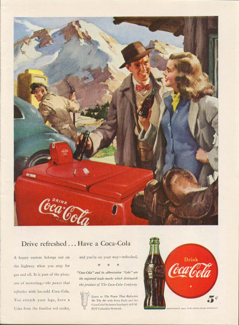 Drive refreshed Have a Coca-Cola ad 1947 cooler