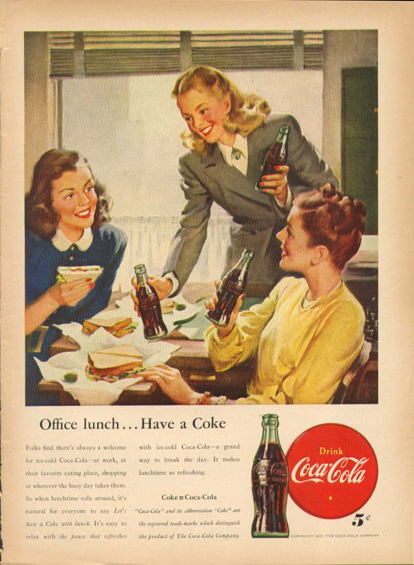 Image for Office lunch . . . Have a Coke Coca-Cola ad 1947