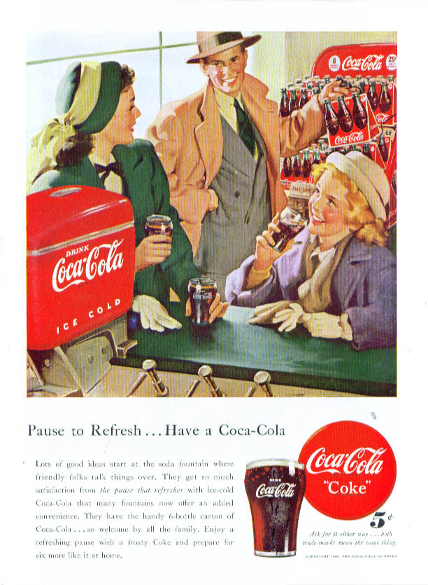 Image for Pause to Refresh Have a Coca-Cola ad 1948 fountain 6-pack
