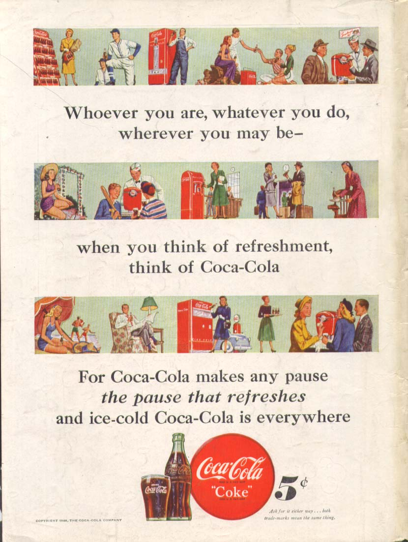 Image for Whoever whatever wherever think Coca-Cola ad 1948