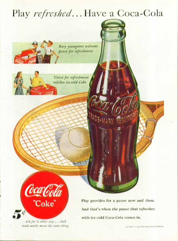 Image for Play refreshed Have a Coca-Cola ad 1948 tennis racket & cooler