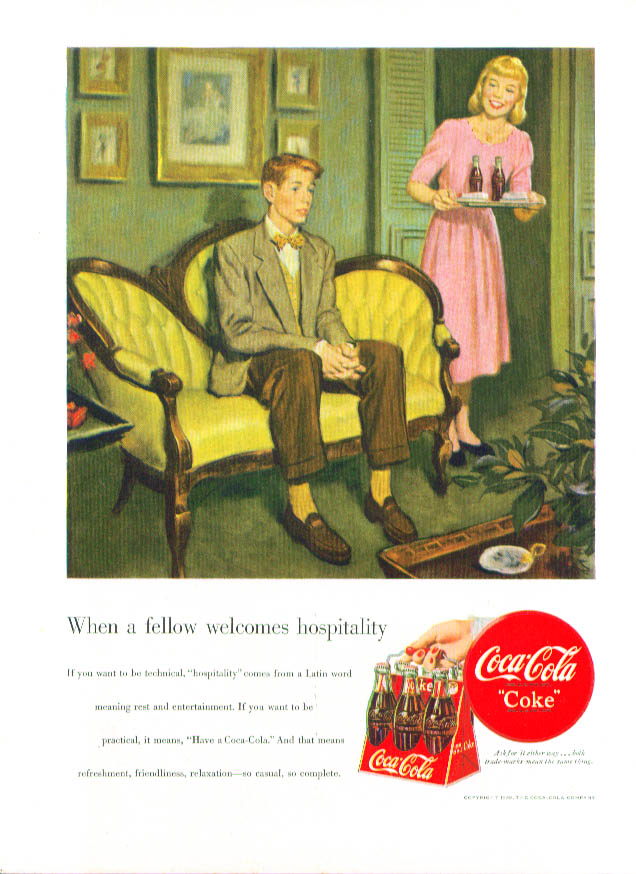 Image for When a fellow welcomes hospitality Coca-Cola ad 1949