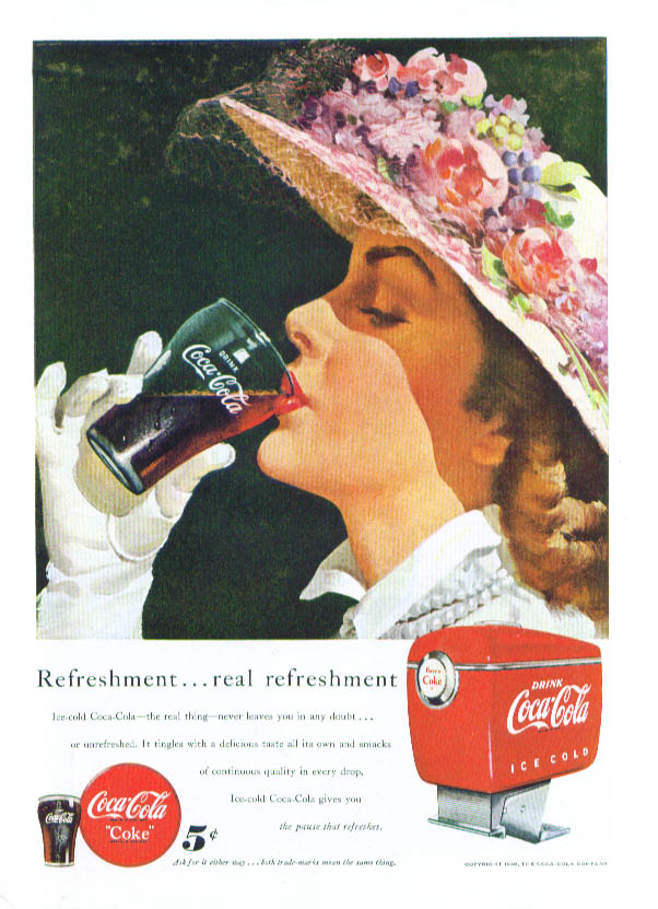 Real refreshment Coca-Cola ad 1949 Easter bonnet