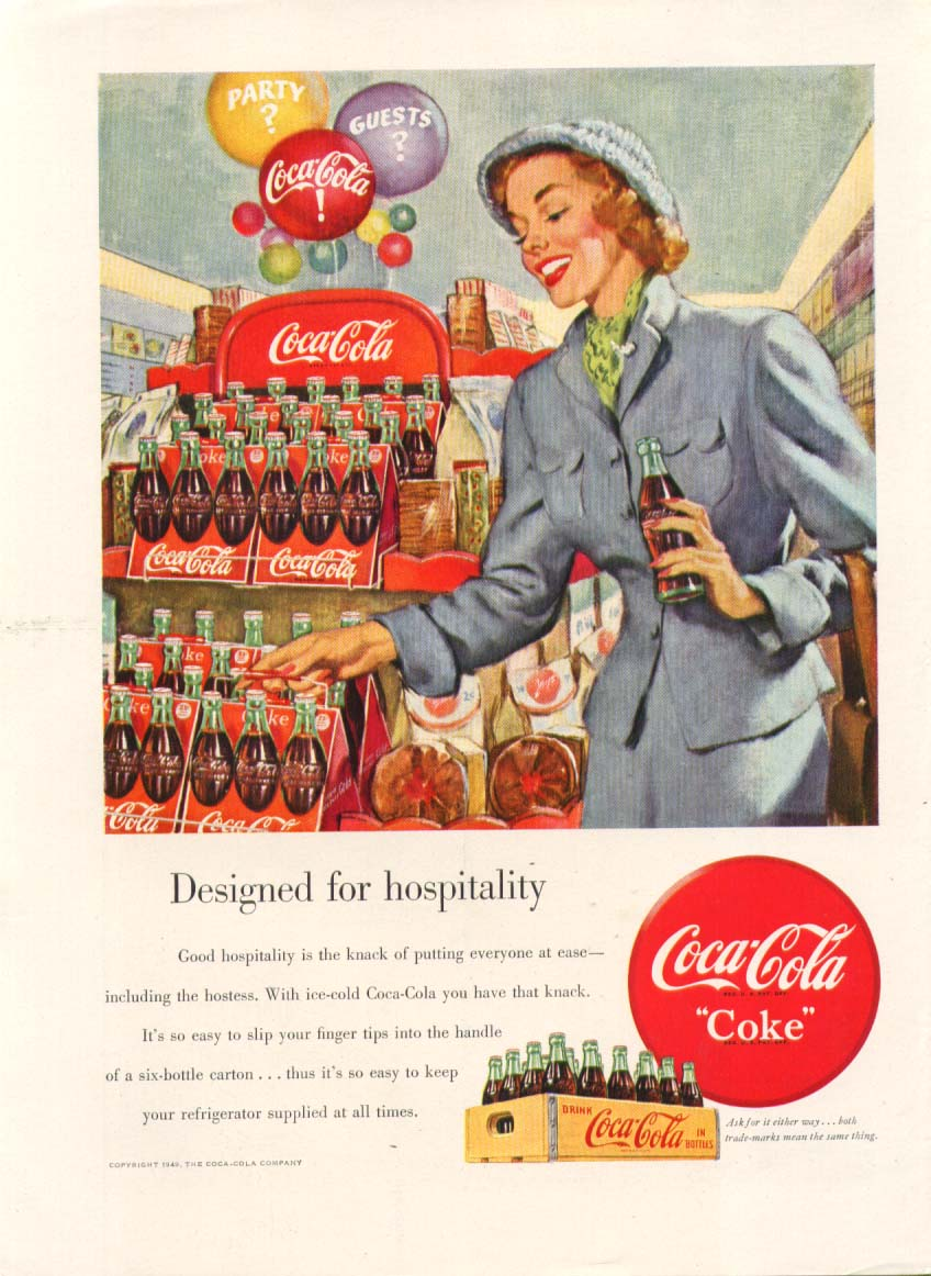 Designed for hospitality Coca-Cola ad 1949 store 6-pack