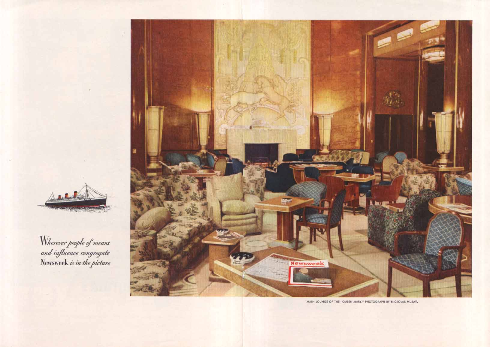 Image for Newsweek on Cunard R M S Queen Mary ad 1947 Muray