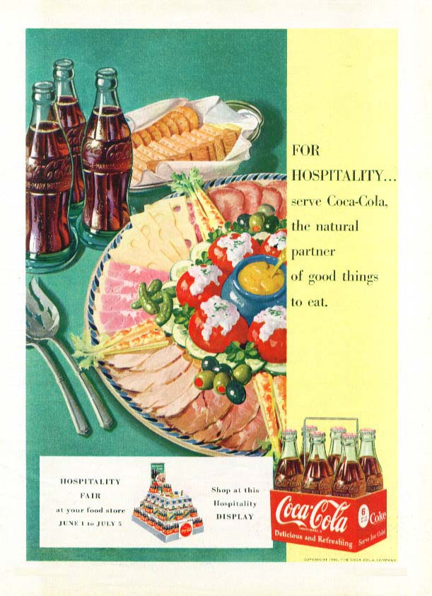 Image for For hospitality serve Coca-Cola ad 1950 6-pack cold cut
