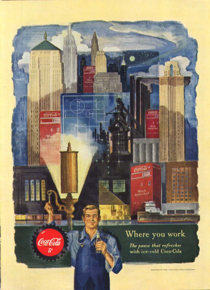 Image for Where you work Coca-Cola ad 1950 skyline vending