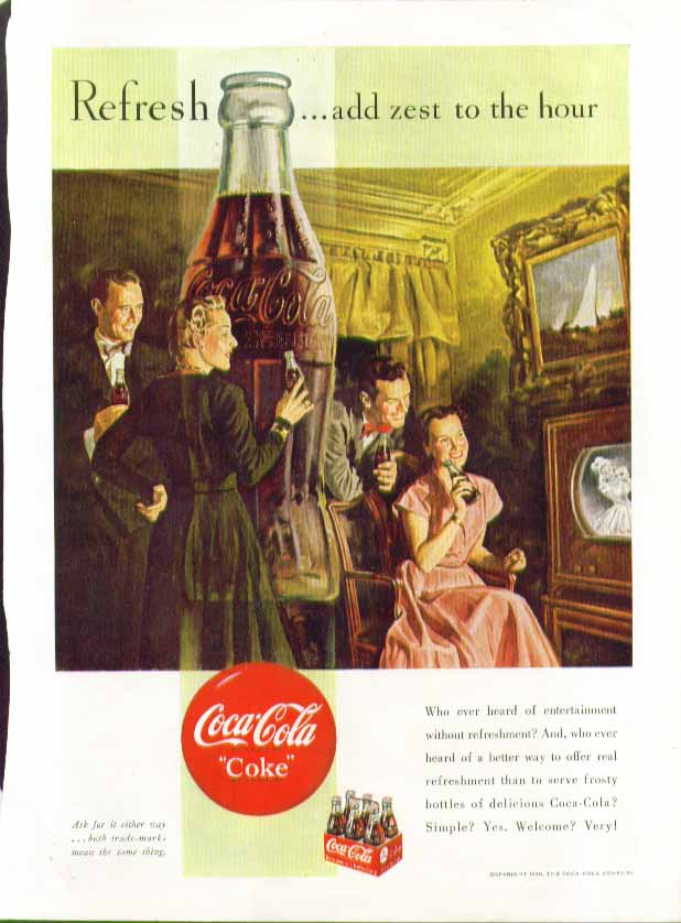 Image for Refresh - add zest to the hour Coca-Cola ad 1950 television set