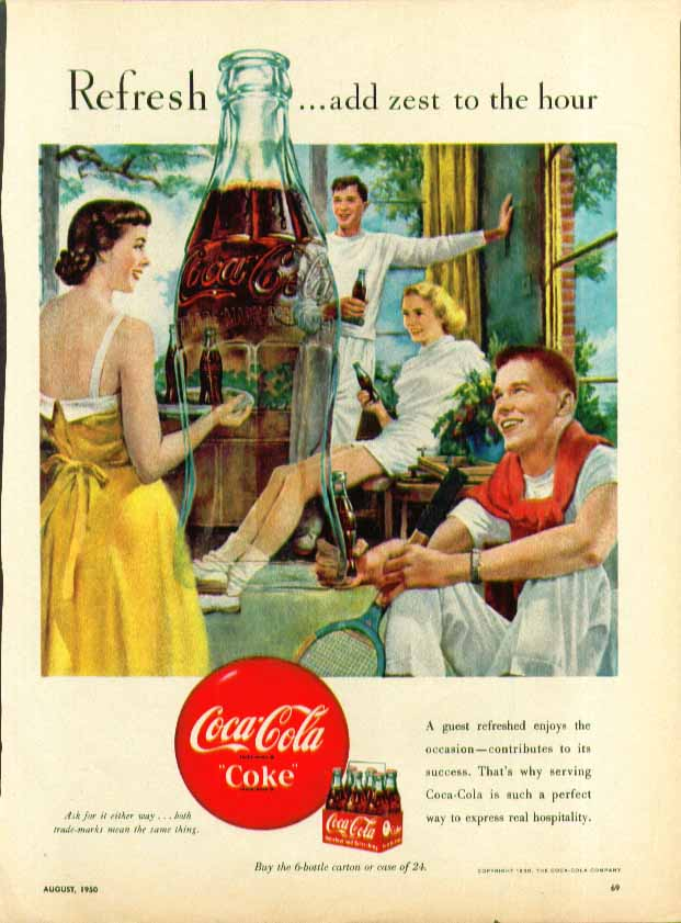 Image for Refresh - add zest to the hour Coca-Cola ad 1950 after the tennis match
