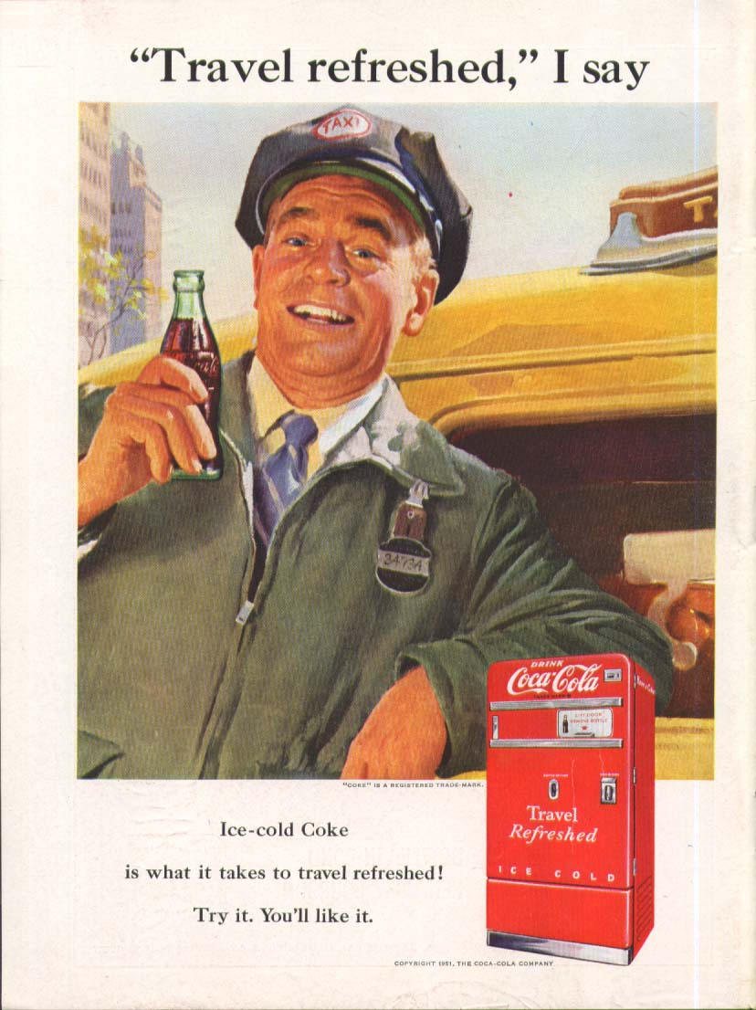 1886 1951 Through 65 years Coca-Cola ad 1951