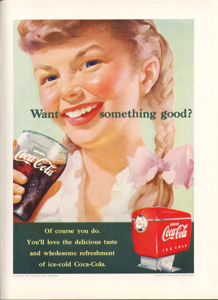 Image for Want something good? Coca-Cola ad 1951 blonde pigtails New Yorker