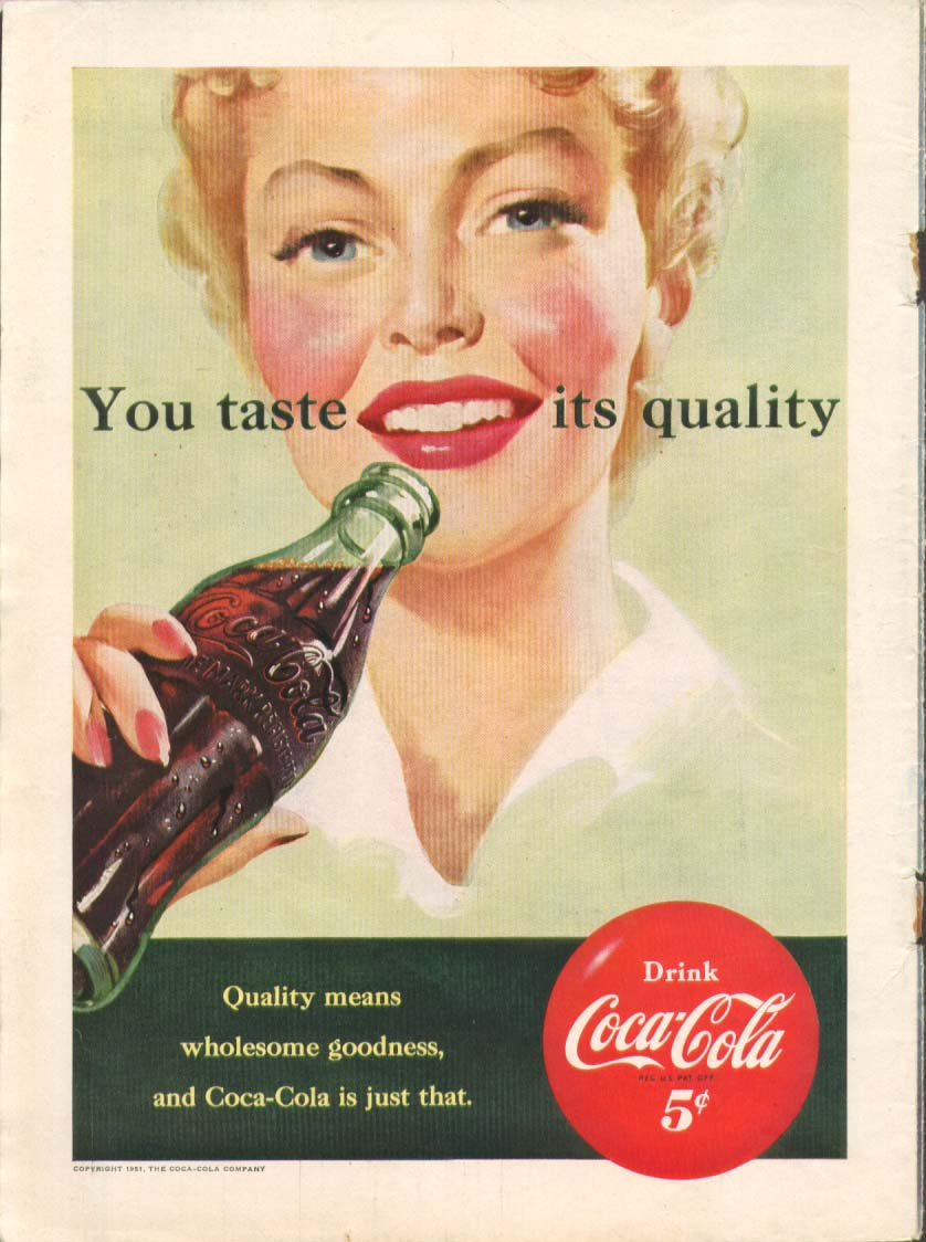 Image for You taste its quality Coca-Cola ad 1951 blonde drinks
