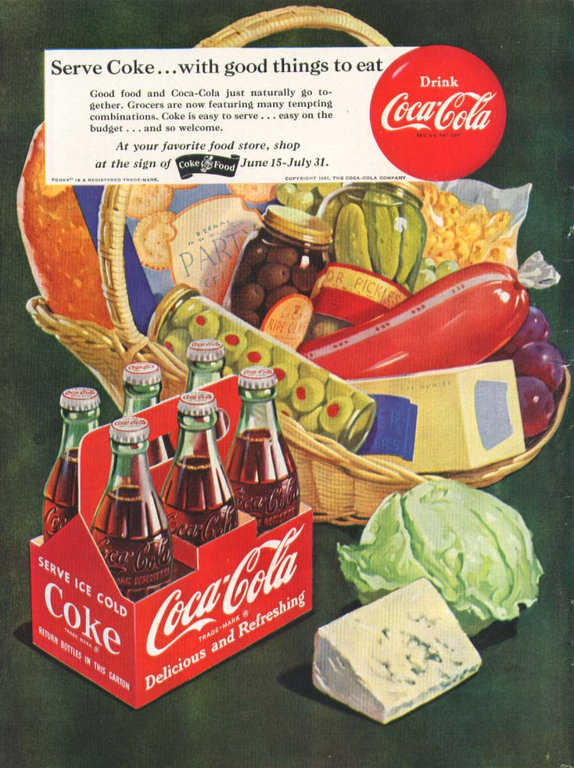 Image for Serve with good things to eat Coca-Cola ad 1951 basket