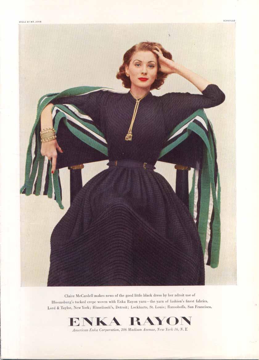 Claire McCardell dress Enka Rayon ad 1951 Scavullo