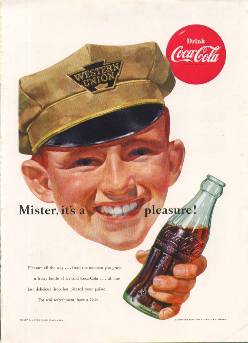 Image for Mister it's a pleasure Coca-Cola ad 1952 Western Union New Yorker