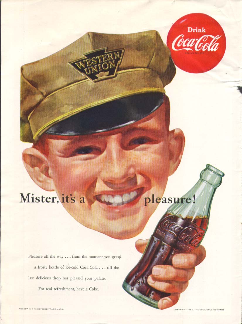 Image for Mister it's a pleasure Coca-Cola ad 1952 Western Union Newsweek