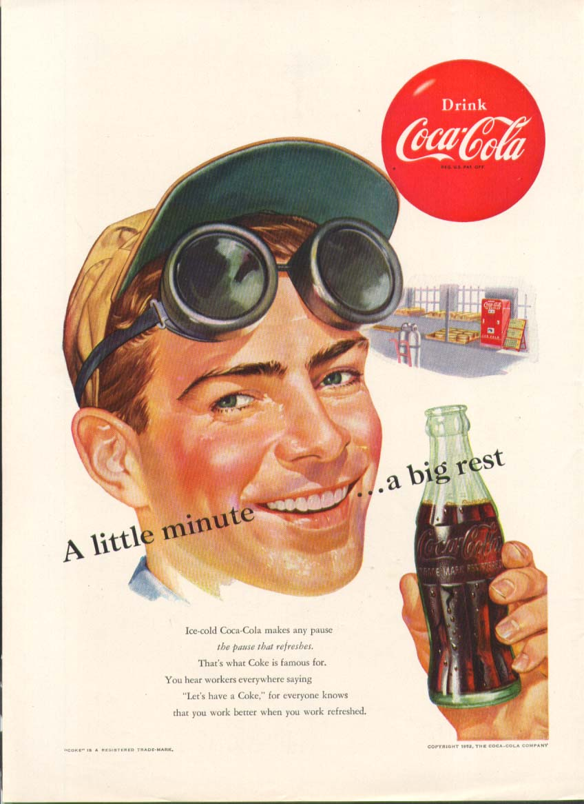 A little minute a big rest Coca-Cola ad 1952 welder