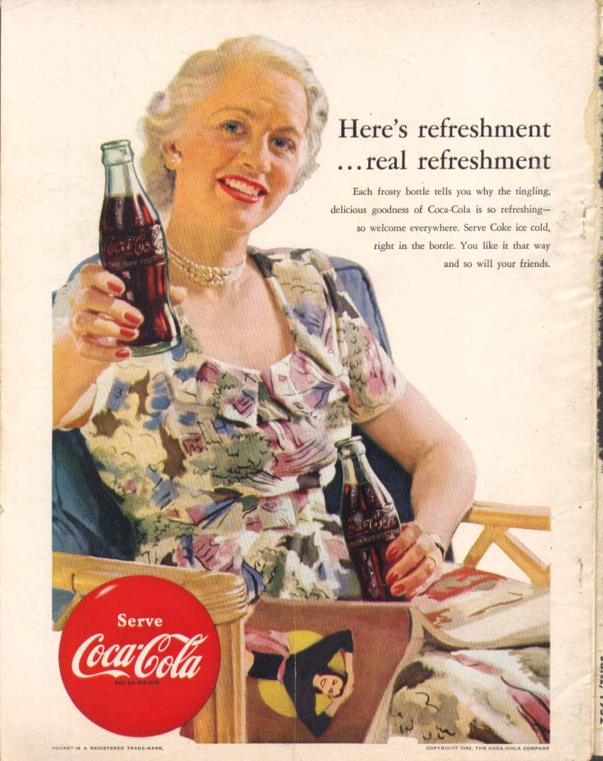 Image for Here's real refreshment Coca-Cola ad 1952 greyahaired