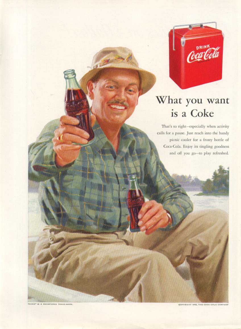Image for What you want is a Coke Coca-Cola ad 1952 fisherman