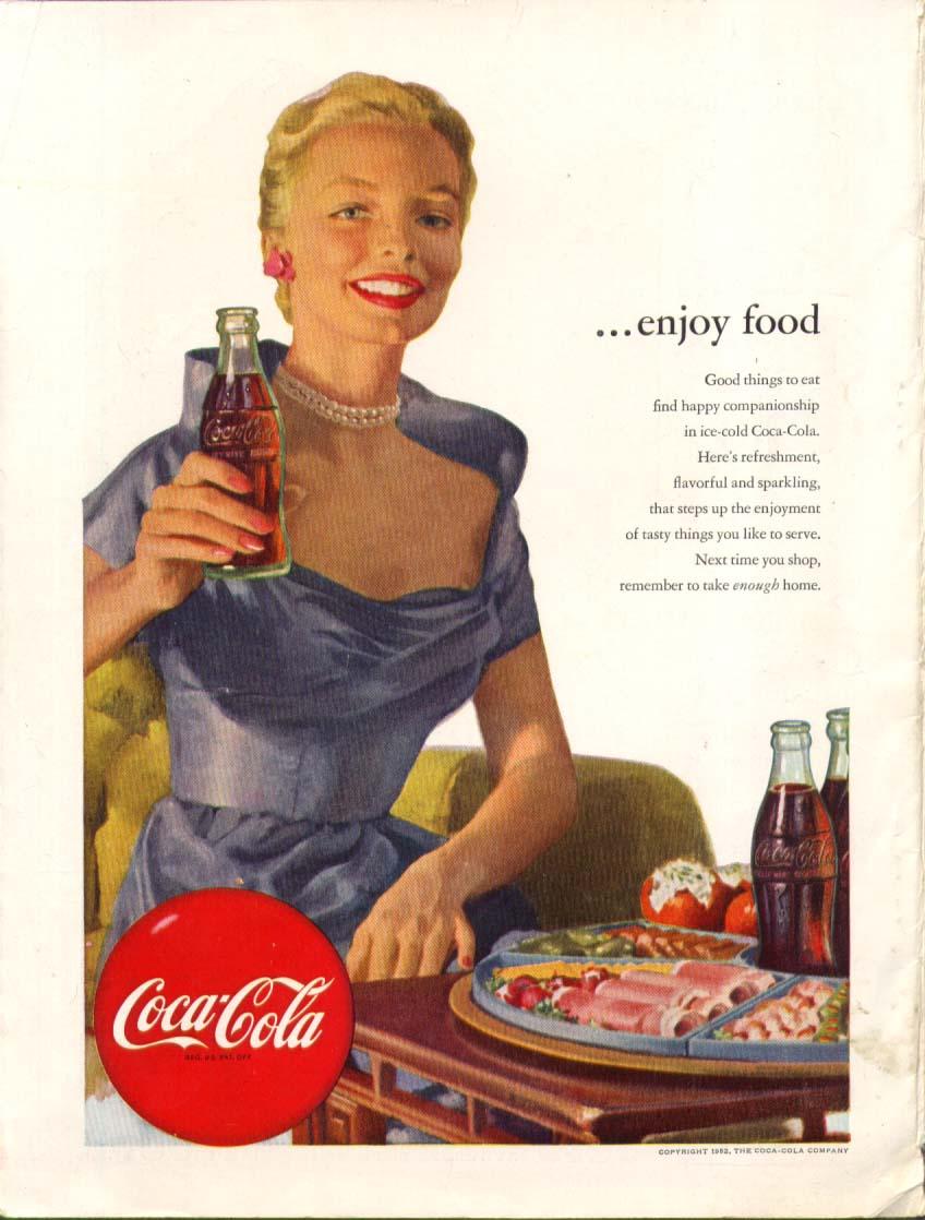 Enjoy food Coca-Cola ad 1952 pearls bosoms