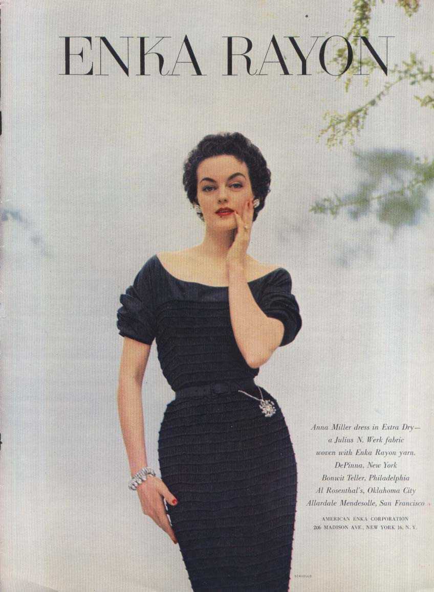 Anna Miller dress Enka Rayon ad 1952 Scavullo