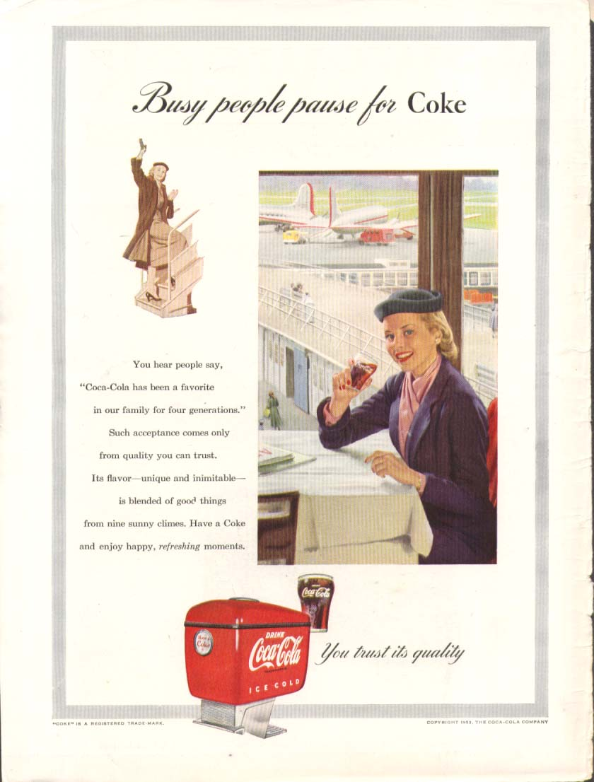 Busy people pause for Coca-Cola ad 1953 gal airport
