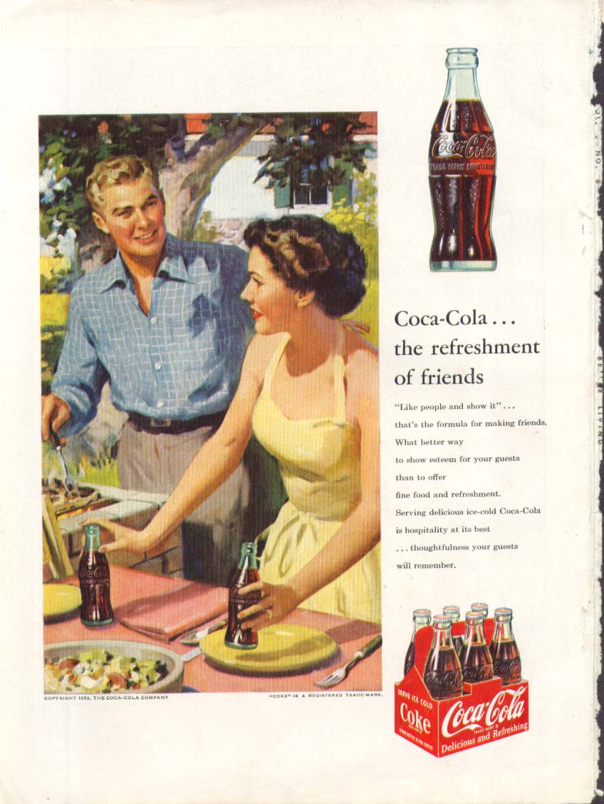 Image for Refreshment of friends Coca-Cola ad 1953 cookout